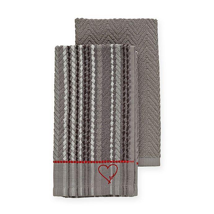 Alternate image 1 for ED Ellen DeGeneres™ 2-Pack Kitchen Towels Set in Grey