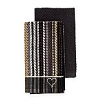 ED Ellen DeGeneres™ 2-Pack Kitchen Towels Set in Black