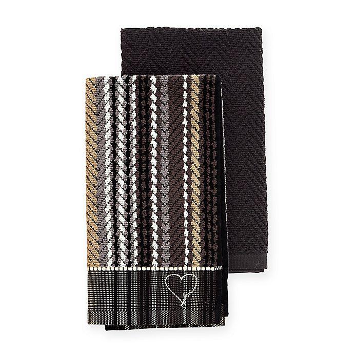 Alternate image 1 for ED Ellen DeGeneres™ 2-Pack Kitchen Towels Set in Black