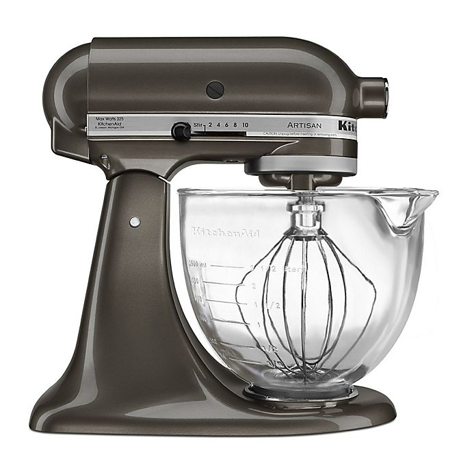 Alternate image 1 for KitchenAid® 5 qt. Artisan® Design Series Stand Mixer with Glass Bowl in Truffle Dust