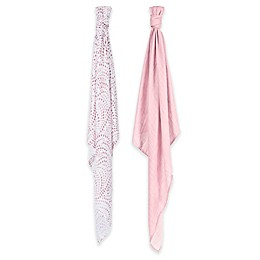 Bebe au Lait® 2-Pack Muslin Swaddle Blankets in Rose Quartz/Petal
