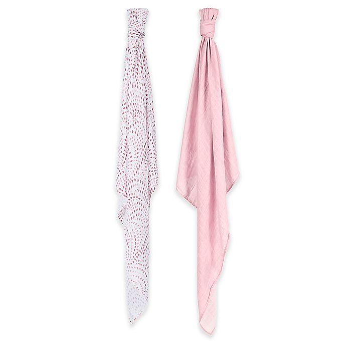 Alternate image 1 for Bebe au Lait® 2-Pack Muslin Swaddle Blankets in Rose Quartz/Petal