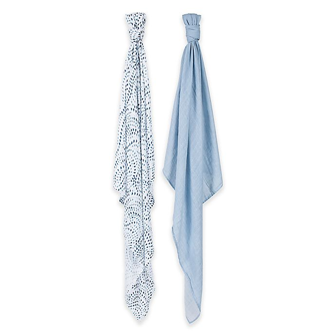 Alternate image 1 for Bebe au Lait® 2-Pack Muslin Swaddle Blankets in Serenity/Sky