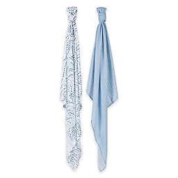 Bebe au Lait® 2-Pack Muslin Swaddle Blankets in Serenity/Sky
