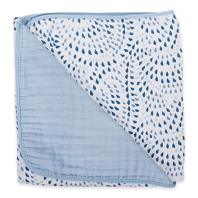 Alternate image 1 for Bebe Au Lait® Muslin Snuggle Blanket in Serenity/Sky