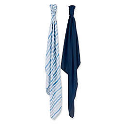 Bebe au Lait® 2-Pack Muslin Swaddle Blankets in Sailor/Carmel Bay