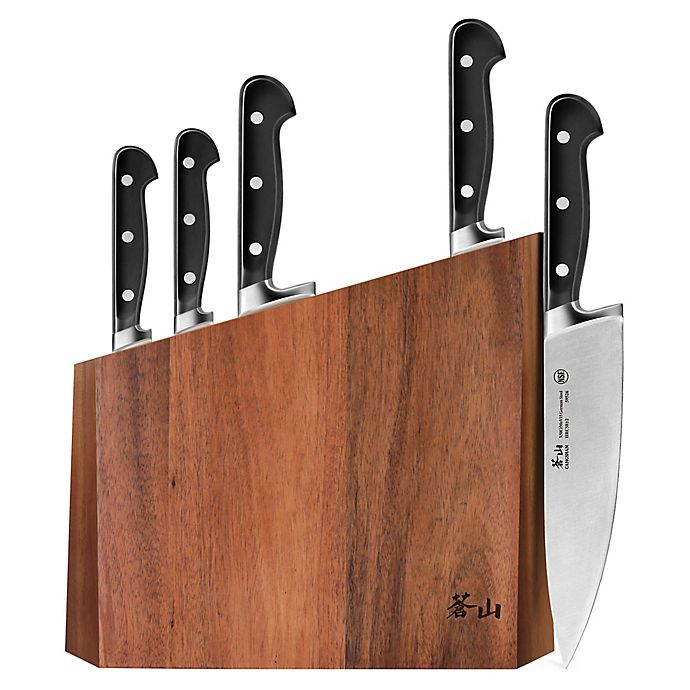 Alternate image 1 for Cangshan V2 Series 6-Piece Knife and Acacia Wood Block Set