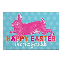 """Happy Easter"" 27-Inch x 18-Inch Door Mat in Blue/Pink"