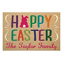 """Hoppy Easter"" 27-Inch x 18-Inch Textured Door Mat in Brown"