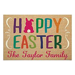 """""""Hoppy Easter"""" 27-Inch x 18-Inch Textured Door Mat in Brown"""