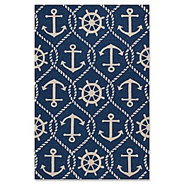 KAS Harbor Marina 3'3 x 5'3 Indoor/Outdoor Area Rug in Navy