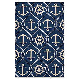 KAS Harbor Marina 7-Foot 6-inch x 9-Foot 6-Inch Indoor/Outdoor Area Rug in Navy