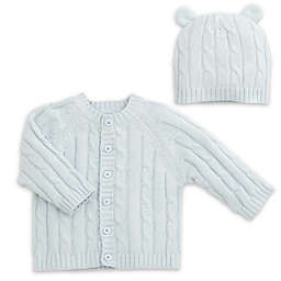 Elegant Baby® 2-Piece Classic Cable Knit Sweater and Hat with Ears Set in Blue