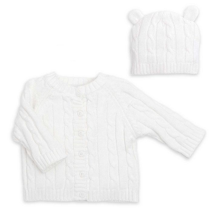 Alternate image 1 for Elegant Baby® Size 6M 2-Piece Classic Cable Knit Sweater and Hat with Ears Set in White