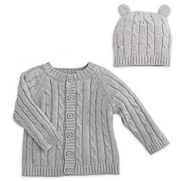 Elegant Baby® 2-Piece Classic Cable Knit Sweater and Hat with Ears Set in Grey