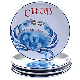 Certified International Beach House Kitchen Crab Dessert Plates (Set of 4)
