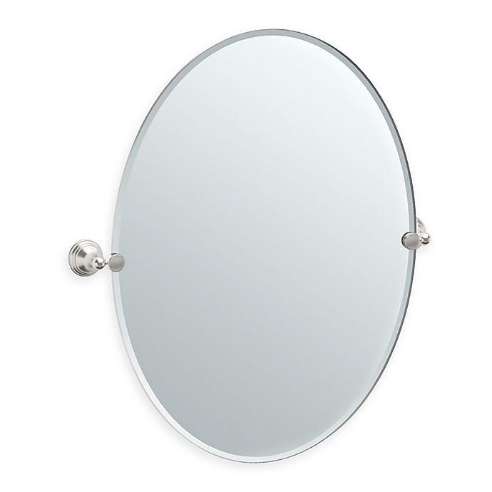 Alternate image 1 for Gatco® Charlotte 32-Inch x 28.5-Inch Oval Frameless Mirror in Satin Nickel