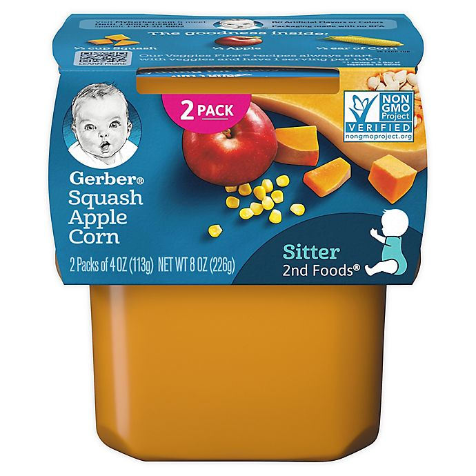 Alternate image 1 for Gerber® 2-Pack 2nd Foods® Squash, Apple, and Corn Veggies First™ Recipe Baby Food