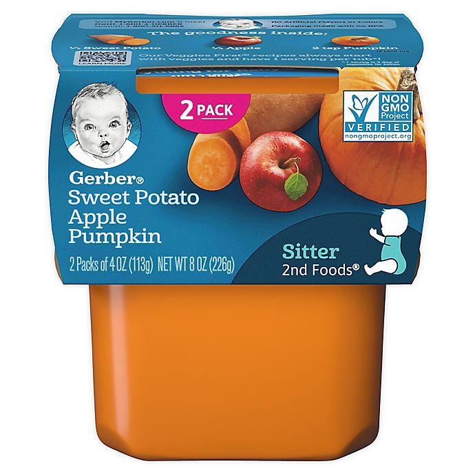 Alternate image 1 for Gerber® 2-Pack 2nd Foods® Sweet Potato, Apple, and Pumpkin Veggies First™ Baby Food
