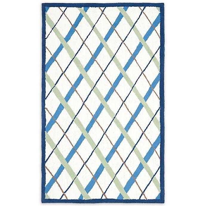 Alternate image 1 for Safavieh Kids® Lattice Rug in Ivory/Blue
