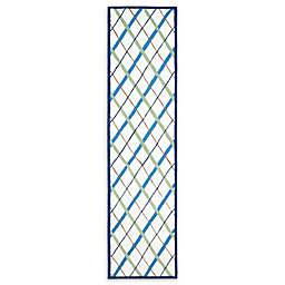 Safavieh Kids® Lattice 2-Foot 3-Inch x 9-Foot Runner in Ivory/Blue