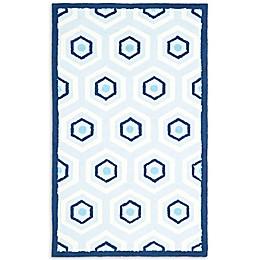 Safavieh Kids Hexagon Print Rug in Blue/Ivory
