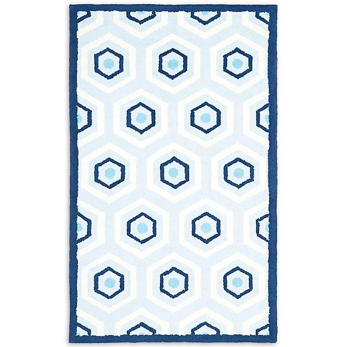 Alternate image 1 for Safavieh Kids Hexagon Print Rug in Blue/Ivory
