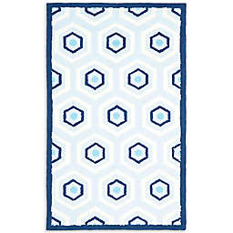 Safavieh Kids Hexagon Print Rug in Blue/Ivory