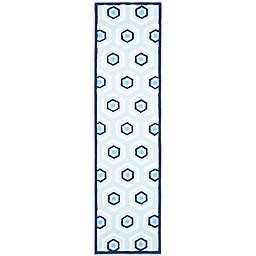 Safavieh Kids 2-Foot 3-Inch x 7-Foot Hexagon Print Area Rug in Blue/Ivory