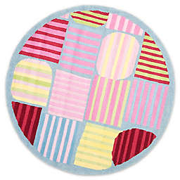 Safavieh Kids® Striped Shapes 6-Foot Round Area Rug in Blue/Multi