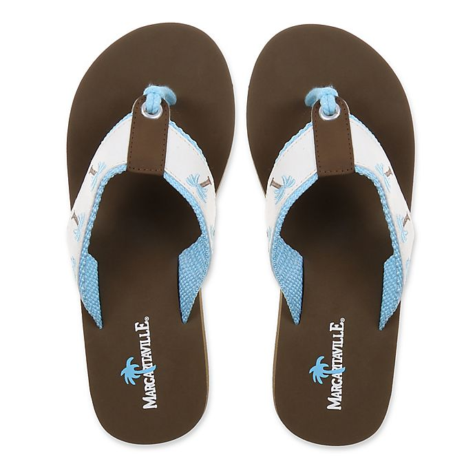Alternate image 1 for Margaritaville Size 7 Breezy Women's Flip Flop in White/Powder Blue