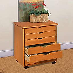 Adeptus 6-Drawer Wide Roller Cart in Pine