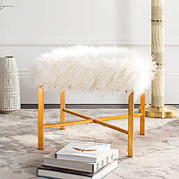 Safavieh Horace Faux Sheepskin Bench in Gold Foil