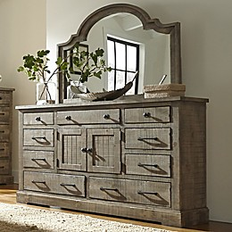 Meadow Door Dresser And Mirror in Grey