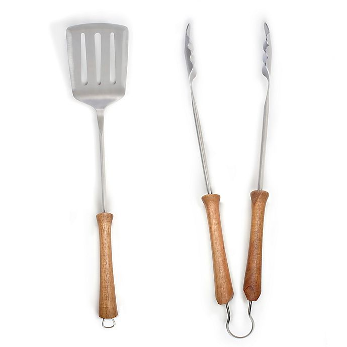 Alternate image 1 for Schmidt Brothers® Smoked Acacia BBQ 2-Piece Grilling Tool Set
