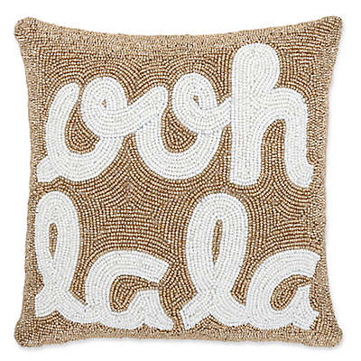 """Ooh La La"" Beaded Square Throw Pillow in Gold"