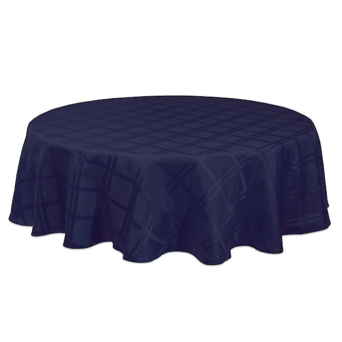 Alternate image 1 for Origins™ Microfiber 90-Inch Round Tablecloth in Ink