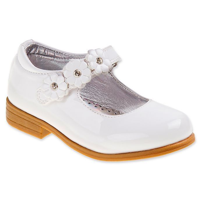 Alternate image 1 for Laura Ashley® Dress Shoe in White Patent Leather