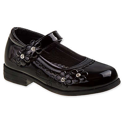 Laura Ashley® Dress Shoe with Flower Accent in Black Patent Leather