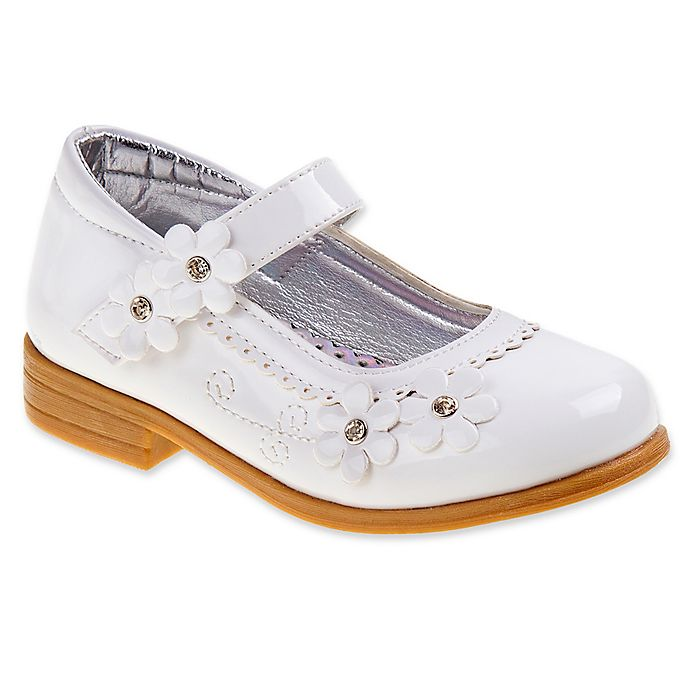 Alternate image 1 for Laura Ashley® Dress Shoe with Flower Accent in White Patent Leather