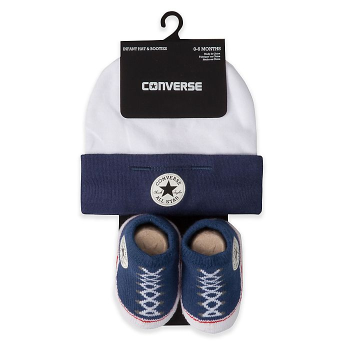 Alternate image 1 for Converse Hat and Bootie Set in Navy