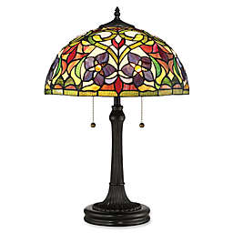 Quoizel® Violets 2-Light Table Lamp in Vintage Bronze with Glass Shade