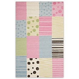 Safavieh Kids® Dots Stripes and Patches Rug in Blue/Pink