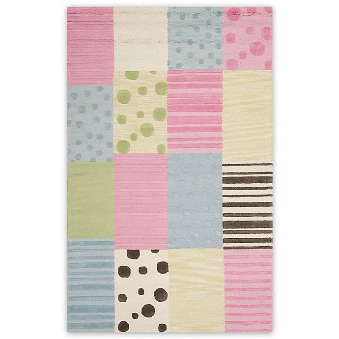 Alternate image 1 for Safavieh Kids® Dots Stripes and Patches Rug in Blue/Pink