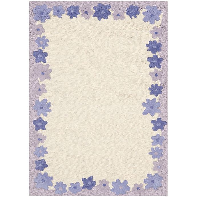 Alternate image 1 for Safavieh Kids® Floral Border Rug in Ivory/Lavender