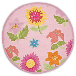 Safavieh Kids® Floral 6-Foot Round Area Rug in Pink