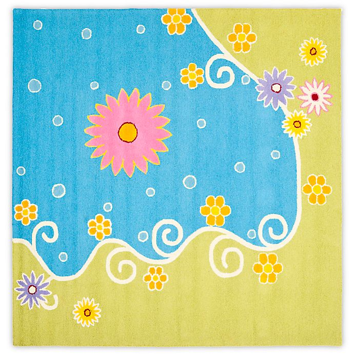 Alternate image 1 for Safavieh Kids® Land and Sea 7-Foot Square Area Rug in Blue/Green