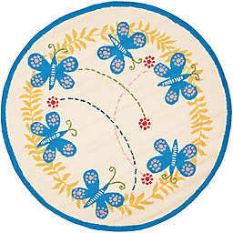 Safavieh Kids® Butterfly 4-Foot Round Accent Rug in Ivory/Blue