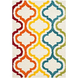 Safavieh Kids® Border Trellis Shag Rug in Ivory/Multi