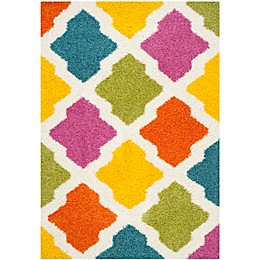 Safavieh Kids® Diamonds Shag Rug in Ivory/Multi